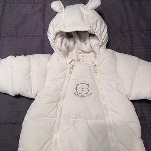 H&M White Baby Bear Snowsuit Bunting